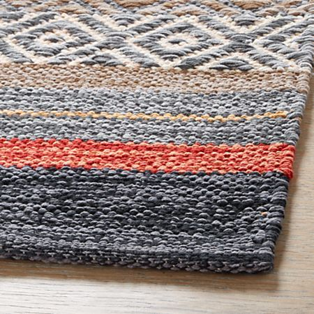 Yumi Blue Multi Color Rag Rug Runner 2 5 X6 Reviews Crate And Barrel Rag Rug Handcrafted Rugs Rug Runner