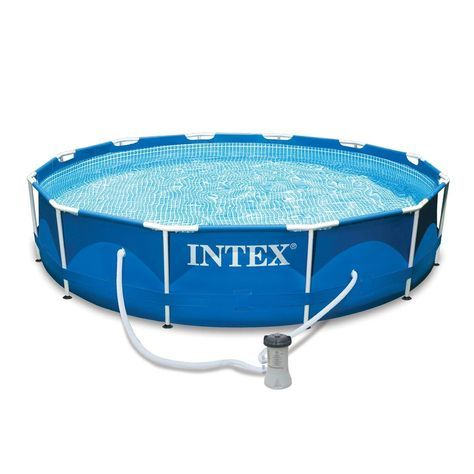 Intex 12 X 30 Metal Frame Set Above Ground Swimming Pool With Filter 28211eh Intex Intex Above Ground Swimming Pools Swimming Pools
