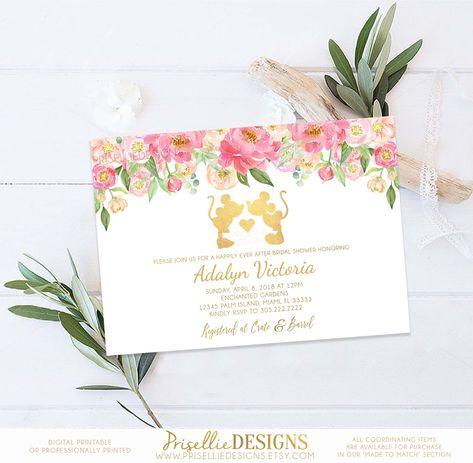 Disney Bridal Shower Invitation, Disney Happily Ever After Bridal Shower Invitation, Floral Disney Bridal Shower Engagement Wedding Shower