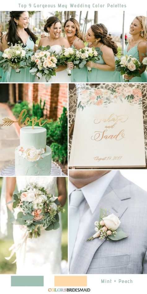 Top 9 May Wedding Color Palettes for 2019 - Mint and Peach. #colsbm #bridesmaids #weddings #weddingideas #summerwedding #mintwedding b1195