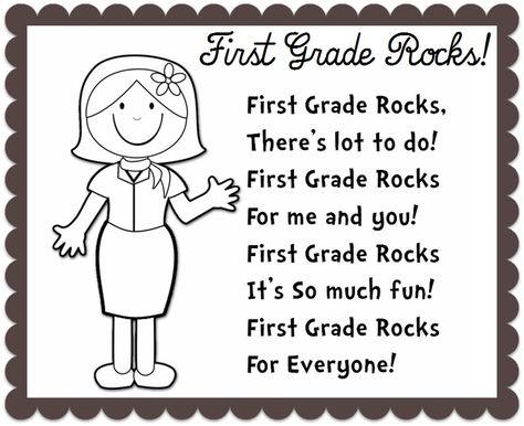 BACK TO SCHOOL poem (First Grade Rocks). Change the grade level to kindergarten!