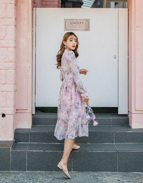 Women's Floral Pink Dress Modern Hanbok Dress Korean Party Dresses, TETEROT SALON Pink Lady 핑크레이디 철릭원피스