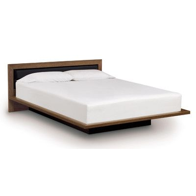 Moduluxe Bed With Low Upholstered Leather Headboard Upholstery Coffee Size Queen Top Coat Finish Upholstered Platform Bed Leather Headboard Platform Bed