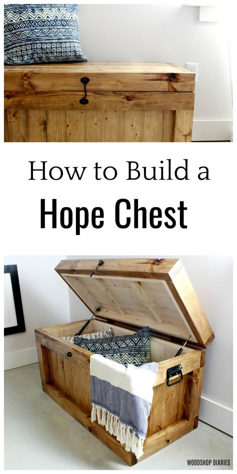 These free plans show you step by step how to build your own DIY hope chest/storage trunk. Built with construction lumber and simple joinery, this project is an easy weekend project perfect for end of the bed storage, a toy box, or an entryway bench. Diy Furniture Plans Wood Projects, Woodworking Projects Diy, Woodworking Plans, Furniture Ideas, Barbie Furniture, Furniture Storage, Furniture Redo, Furniture Design, Garden Furniture