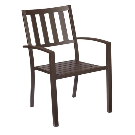 Hampton Bay Mix And Match Brown Stackable Metal Outdoor Dining Chair Fss60508a The Home Depot With Images Outdoor Chairs Metal Patio Furniture Metal Patio Chairs