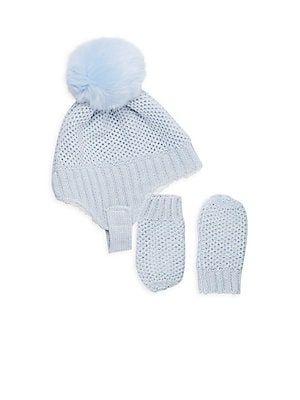 denim blue xs Galeez Little Girls Beanie /& Mittens Set