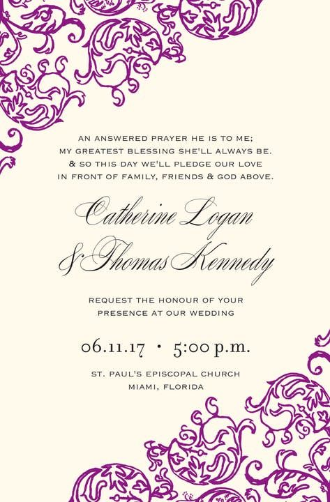 Rococo Violet Invitation With Images