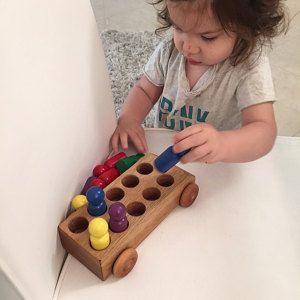 Autobús de juguete de madera natural | Coches de juguete de