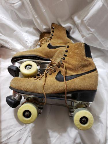 Vintage Nike Brown Leather Suede Roller Skates Size 6 Sure Grip Classic Nike Brown Vintage Nike Leather Suede