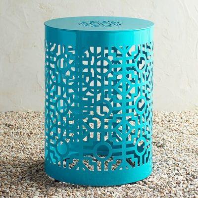 Fine Trellis Turquoise Metal Garden Stool Outdoor Tables Evergreenethics Interior Chair Design Evergreenethicsorg