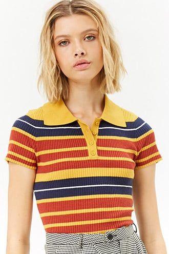 Women S 70s Striped Ribbed Polo Shirt Retro Colors Polo Shirt Outfit Women S Shirt Outfit Women Collar Shirts Women