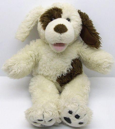 40c8d3bcad0 Build A Bear Barking Plush Puppy Dog Stuffed Animal Cream Brown 17 x 12   BuildABearWorkshop
