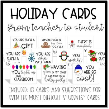 Holiday Cards From Teacher To Students Winter Christmas Break