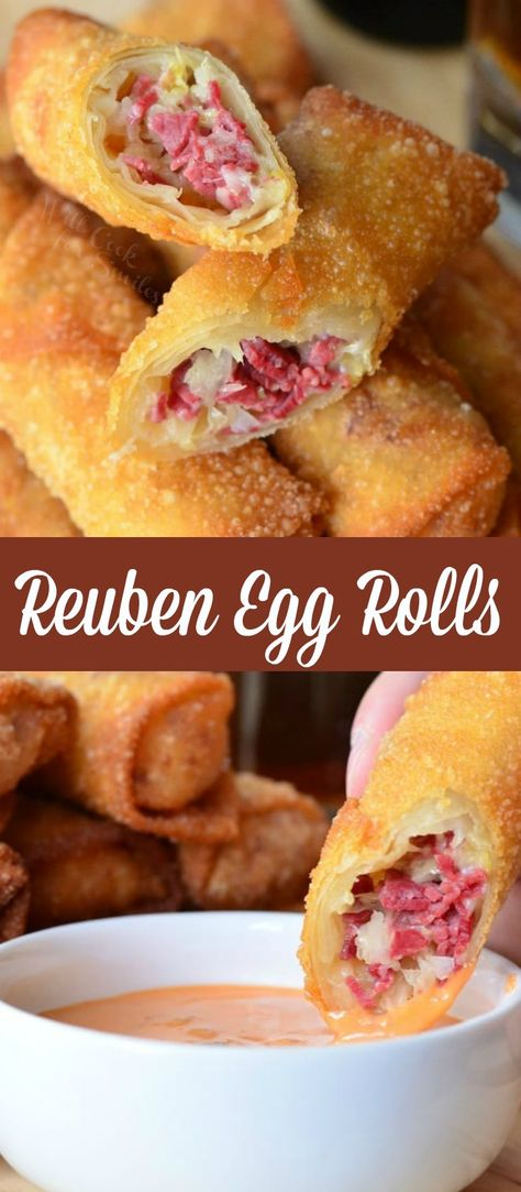 Reuben Egg Rolls are made with corned beef cheese and sauerkraut fried to golden deliciousness and served with Thousand Island dressing. Beef Egg Roll Recipe, Beef Roll, Egg Roll Recipes, Armenian Recipes, Irish Recipes, Armenian Food, Italian Recipes, Reuben Sandwich, Mini Appetizers