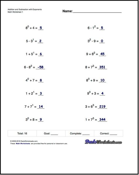 Practice exponents worksheets introducing exponent syntax ...