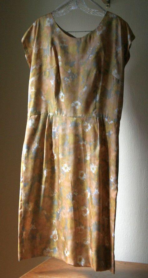 1960s womens sheath dress impressionist floral golds handmande Plus size#1960s #dress #floral #golds #handmande #impressionist #sheath #size #womens