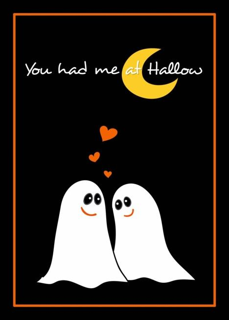 Cute Ghosts, You had me at Hallow, Halloween Love Card