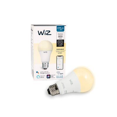 Wiz 11 5 Watt 60 Watt Equivalent A19 Led Smart Dimmable Light Bulb 2700 E26 Medium Standard Base Dimmable Light Bulbs Light Bulb Lamp Sets