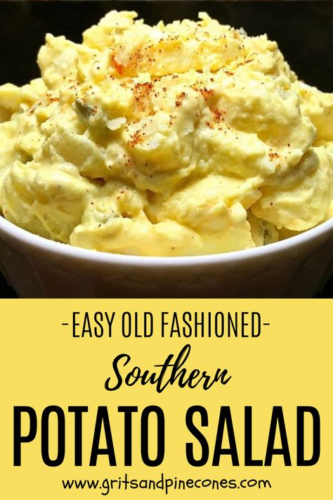Just like Grandma used to make, this easy Southern Potato Salad recipe is creamy deliciousness with dill pickles, mustard, mayonnaise, and hard-boiled eggs! Southern Potato Salad, Classic Potato Salad, Creamy Potato Salad, Potato Salad With Egg, Potato Food, Potato Salad With Mustard, Potato Salad With Vinegar, Southern Egg Salad Recipe, Simple Potato Salad