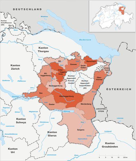 Karte Kanton St Gallen Bezirke 2002 Png Karten Landkarte