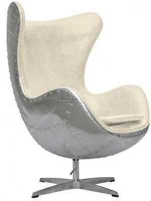 Aviator Arne Jacobsen Aj Egg Chair Vintage White Leather Aluminium Spitfire Egg Chair Chair Ikea Chair