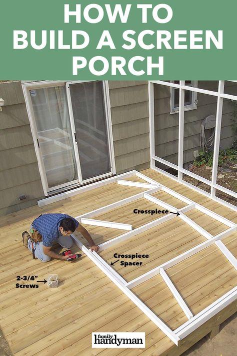 How to Build a Porch: Screen Porch Construction Screened In Porch Diy, Screened Porch Designs, Diy Porch, Backyard Patio Designs, Diy Deck, Backyard Projects, Sunroom Diy, Screen For Porch, Porch And Patio