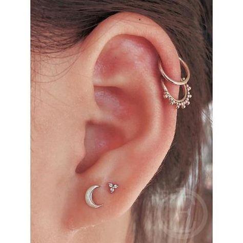 B Section 12Mm Silver Kofun Earrings 1 Pair Titanium Steel Hoop Earring Cartilage Helix Piercing Earrings A Section