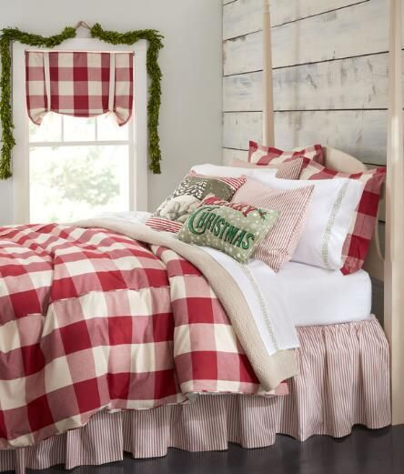 A Bold And Versatile Oversized Check Is Woven In Soft And Substantial Pure Cotton Country Cur Christmas Bedroom Christmas Decorations Bedroom Holiday Bedroom