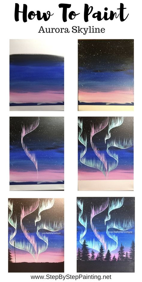 How to paint Northern Lights – Step By Step Painting – Winterbilder Simple Canvas Paintings, Easy Canvas Art, Small Canvas Art, Easy Canvas Painting, Mini Canvas Art, Light Painting, Painting Art, Easy Art, Painting Flowers