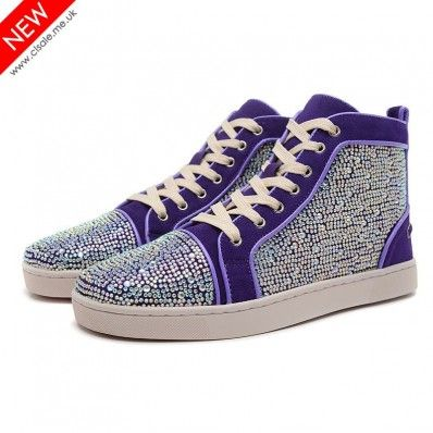 pretty nice 1c4dc bf2c6 Christian Louboutin Louis Strass Womens Flat Purple ...