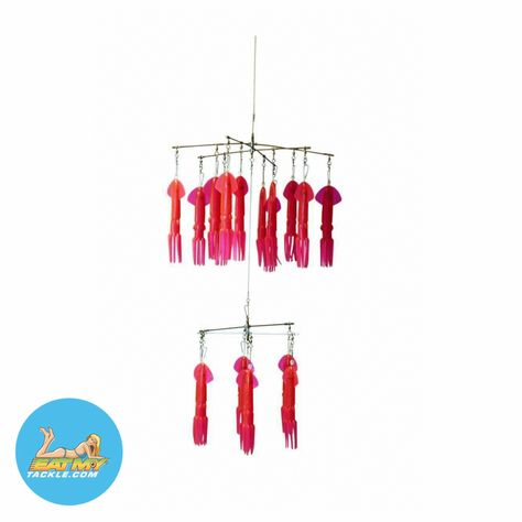 9 in Hot Pink Marlin Mauler Fishing Dredge Teaser - 39 Squid