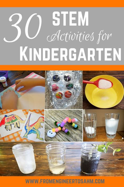 STEM Activities for Kindergarten - From Engineer to Stay at Home Mom - - Science, technology, engineering, and math activities for kindergarteners. A list of over 30 great STEM activities for kindergarten for at home or in the classroom! Homeschool Kindergarten, Kindergarten Lesson Plans, Math Projects, Science For Kindergarten, Kindergarten Science Projects, Online Homeschooling, Science Experiments Kids, Science For Kids, Stem For Kids