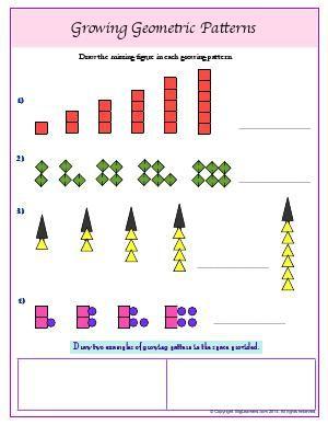 Worksheet Growing Geometric Patterns Draw The Missing Figure