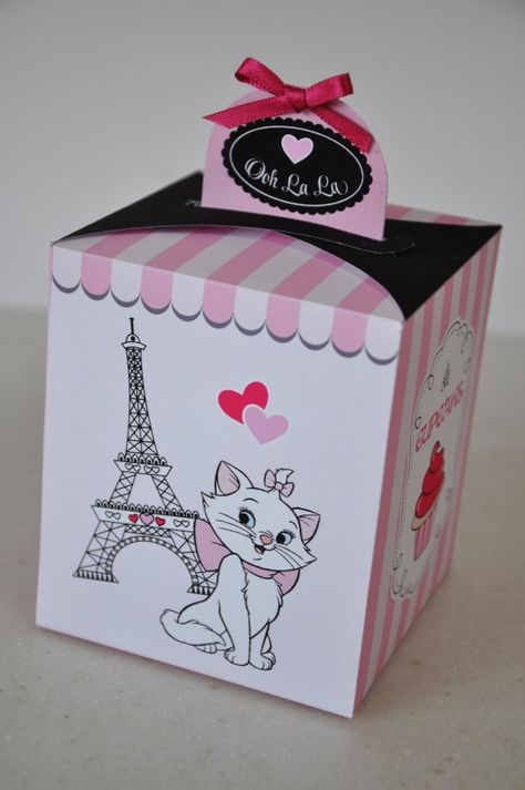 Paris Party pdf printable cupcake box / favor box featuring Eiffel Tower and Marie the Aristocat / Posh Kitty / Chic Cat with cupcake holder