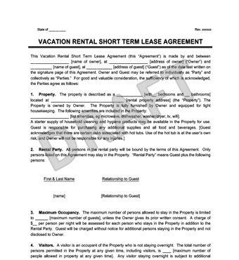 Vacation Rental Short Term Lease Agreement Rental Agreement