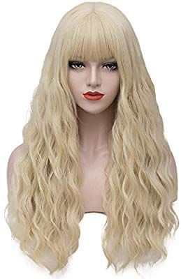 Amazon Com Asincbd Long Blonde Wigs For Women 28 Inches Fluffy Wavy Hair Wig With Bangs Natural Full Synthetic Long Hair Wigs Long Blonde Wig Wig With Bangs