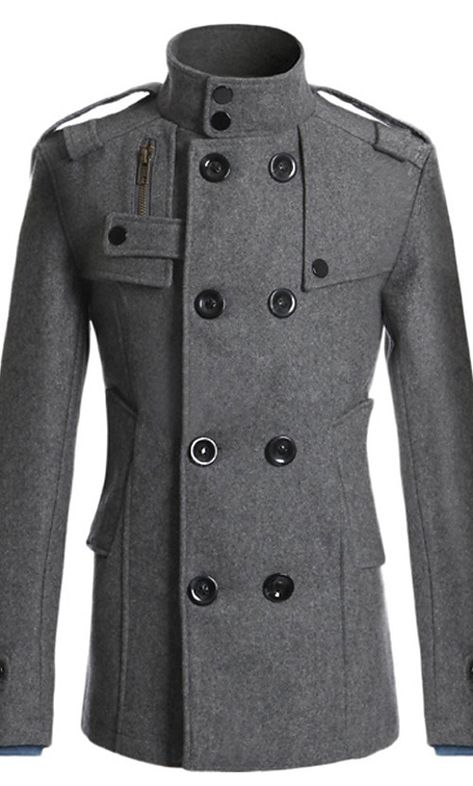 2015 Fashion Men's Winter Coat Turn-down Collar Wool Blends Warm Men's Thick Coat Double Breasted Winter Overcoat For Male Winter Overcoat, Wool Overcoat, Mens Winter Coat, Fall Winter, Winter Coats, Mens Overcoat, Mode Mantel, Langer Mantel, Mens Windbreaker
