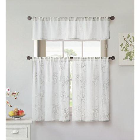 Home Maison Katness White Kitchen Curtain Set 58 In W X 15 In L In 3 Piece Katn 11491d 12 Kitchen Curtain Sets Curtains White Kitchen Curtains