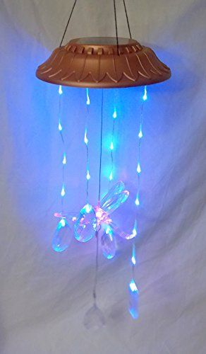 New Color Changing Dragonfly With Hanging Jewel Teardrop Prisms Hanging Solar Mobile Light Lights Prisms Hanging Solar Lights
