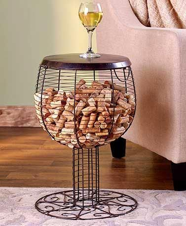 Accent Table Cork Holder Barrel or Goblet Metal Hinged Table Top Wine Lover/'s