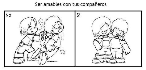 Dibujos De Convivencia Escolar Para Colorear Imagui Kinder Centers Childhood Education Spanish Reading