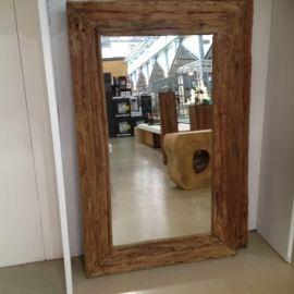 Super Zeer grove teakhouten spiegel afmetingen 160 x 80 cm dikte 3 cm OE-08