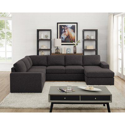Epperson Reversible Modular Sectional Fabric Dark Gray In 2020 Modular Sectional Sofa Black Living Room Decor Black Living Room