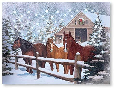 Collections Etc Lighted Winter Horse Barn Scene Wall Canvas Art Christmas Art Canvas Wall Art Wall Canvas