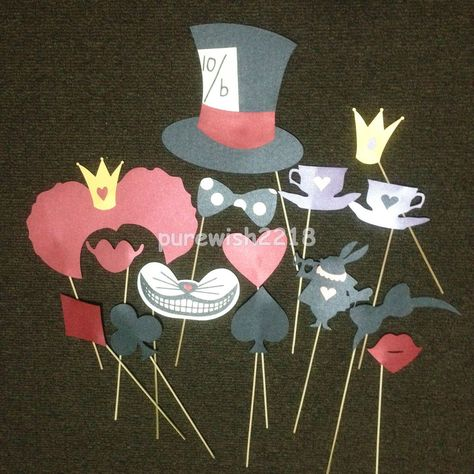 Alice In Wonderland Photo Booth Props On A Stick Wedding Weddings Party Supplies