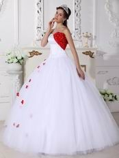 dc7af44cc6 White Strapless Puffy Military Ball Formal Dress with Red Applique ...