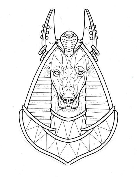 Egyptian dog head tattoo sketch design