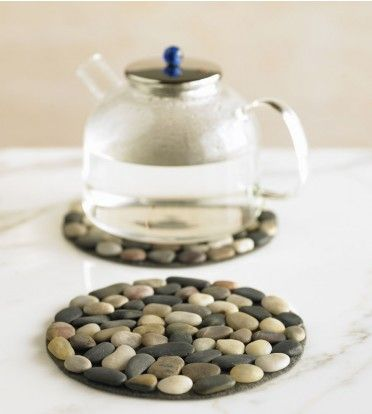 What a simple and fun project! These trivets are a natural heat insulator and will protect your counter tops. Cut a piece of felt purchased from a hobby store into the shape you desire. Hot glue stones onto felt (also can be purchased from a hobby store) and  you're done!