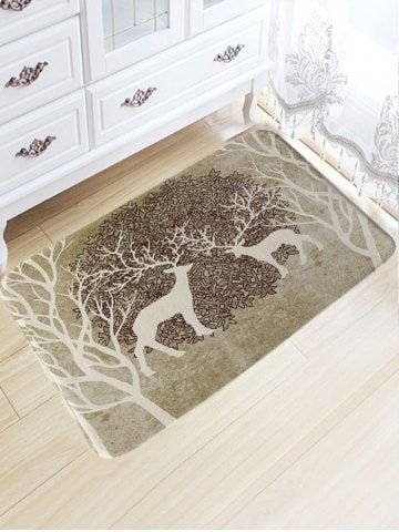 Two Deer Print Skidproof Flannel Bath