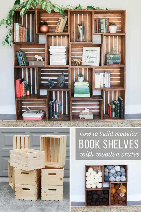 Easy Diy Yarn Storage Shelves Using Wooden Crates Video Tutorial Bookshelves Diy Bookcase Diy Crate Bookshelf